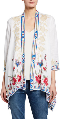 Johnny Was Florence Draped Embroidered Linen Cardigan