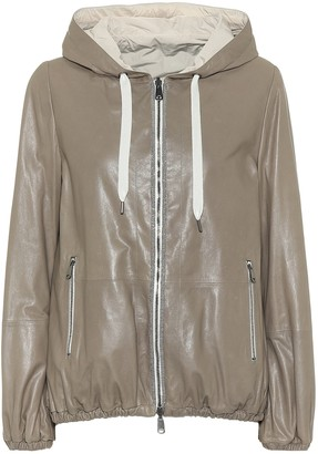 Brunello Cucinelli Reversible leather hooded jacket