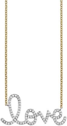 Sydney Evan Big Pave Love Script Necklace