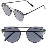 BP Women's 52Mm Thin Brow Angular Aviator Sunglasses - Black/ Black