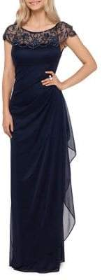 Xscape Evenings Embellished Cascading Ruffle Long Gown
