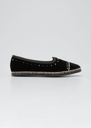 Giuseppe Zanotti Veronica Spiked Velvet Loafer Flats