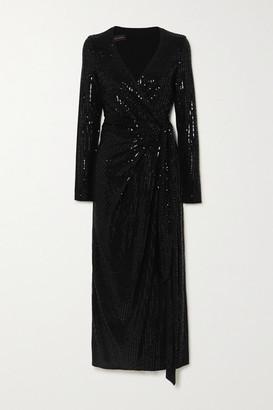 Talbot Runhof Botin Sequined Metallic Stretch-crepe Wrap Midi Dress - Black