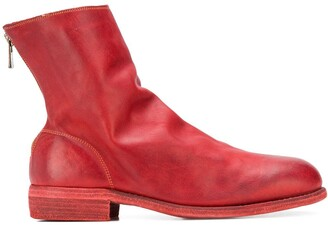 Guidi Grained-Effect Ankle Boots