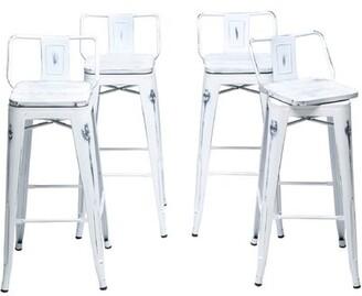 "Williston Forge Harbison Swivel Counter & Bar Stool Seat Height: Counter Stool (26"" Seat Height), Color: Distressed White"