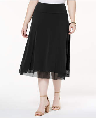 JM Collection Plus Size Mesh-Hem Midi Skirt