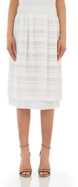 Peserico Striped Pull-On Midi Skirt
