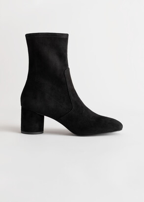 And other stories Suede Almond Toe Sock Boots