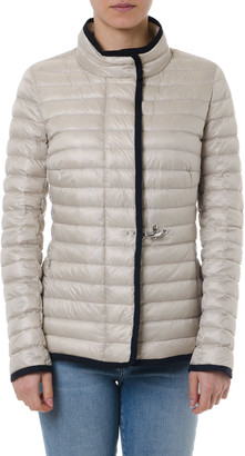 Fay Ecru Zipped Padded Jacket With Contrasting Edges