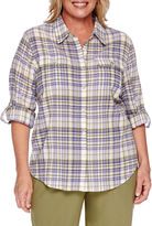 Alfred Dunner Cyprus Plaid Roll-Sleeve Button-Front Shirt - Plus