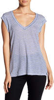 Cupcakes And Cashmere Knoll V-Neck Cap Sleeve Striped Linen Tee