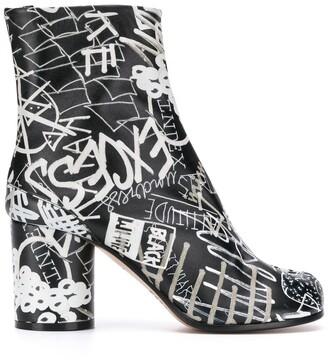 Maison Margiela graphic print 80mm Tabi ankle boots
