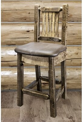 """Abella 24"""" Bar Stool Loon Peak Upholstery: Saddle, Finish: Clear Lacquer"""