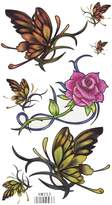 King Horse Rose Flower with Butterflies Body Art Temporary Tattoo Sticker