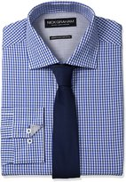 Nick Graham Men's Gingham Cotton Dress Shirt with Tie