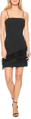Parker Black Connie Stretch Crepe Mini Dress w/ Feather Hem