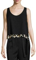 Edun Sleeveless Scoop-Neck Blouse, Leopard Splatter