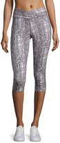 Yummie Tummie Crackle-Print Capri Leggings, Cream/Shark