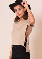 Missy Empire Ivy Stone Suede Caged Side Detail Top