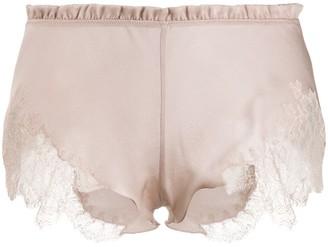 Carine Gilson Lace Detail Silk Shorts