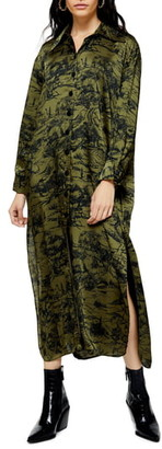 Topshop Toile De Jouy Long Sleeve Midi Shirtdress
