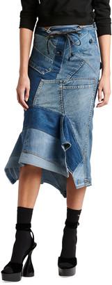 Tom Ford Denim Patchwork Godet Asymmetric Skirt