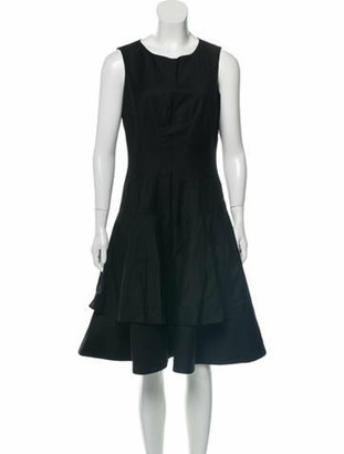 Oscar de la Renta Sleeveless A-Line Dress Black