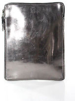Ami Brown Patent Leather Zipper Closure One Pocket Clutch