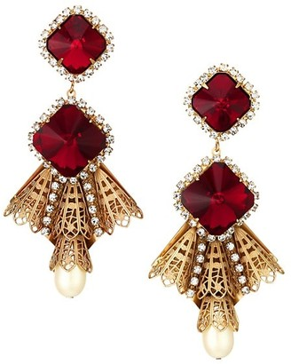 Kenneth Jay Lane Antique Goldplated, Ruby Crystal & Faux-Pearl Drop Clip-On Earrings