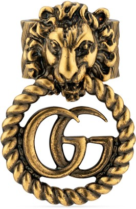 Gucci Lion head ring with DoubleG