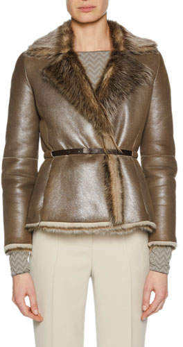 Giorgio Armani Metallic Belted Shearling Fur Jacket