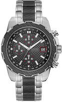 GUESS Men's Chronograph Stainless Steel and Black Carbon Fiber Bracelet Watch 46mm