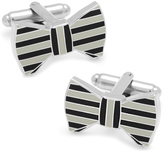 Ox and Bull Trading Co. Maroon and Grey Horizontal Striped Bow Tie Cufflinks