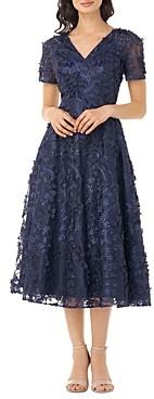 Carmen Marc Valvo V Neck A Line Dress