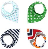 Mumlo Baby Bandana Drool Bibs For Boys & Girls, Pure & Absorbent & Organic Cotton Burp Cloths, Double Cloth, Set of 4, 4 Kinds of Patterns