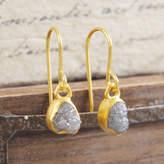 Embers Gemstone Jewellery 18 K Plated Birthstone Diamond Gold Drop Earrings