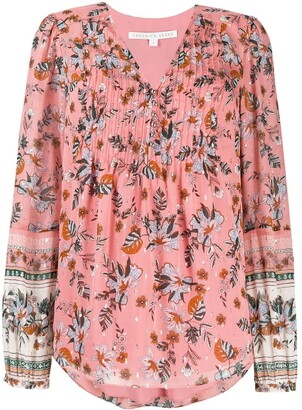 Veronica Beard Floral Print Pleated-Front Blouse