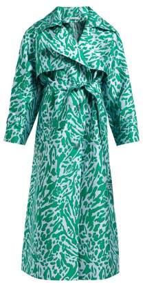 Vika Gazinskaya Leopard-jacquard Trench Coat - Womens - Green Multi
