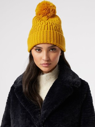 Dorothy Perkins Chunky Knit Pom Pom Hat - Yellow