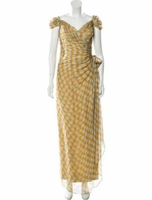 Roland Nivelais Silk Polka Dot Printed Dress w/ Tags Beige