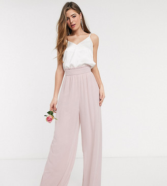 TFNC Tall bridesmaids wide leg pant with ruffle waist detail and belt in pink