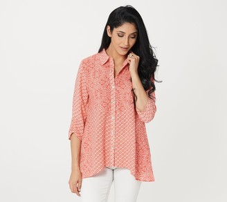Logo by Lori Goldstein Mixed Print Woven Blouse with Lurex