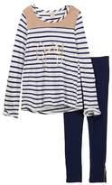 Juicy Couture Faux Suede Trim Hi-Lo Striped Tunic & Stretch Ponte Legging Set (Big Girls)