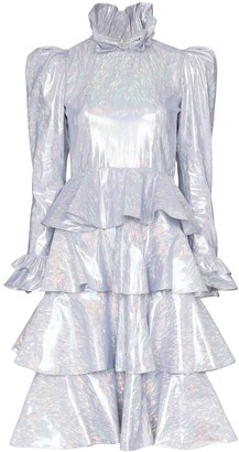 Batsheva Confection metallic tiered dress