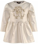 Roberto Cavalli Gold Shimmer Milano Dress With Gold Logo Applique