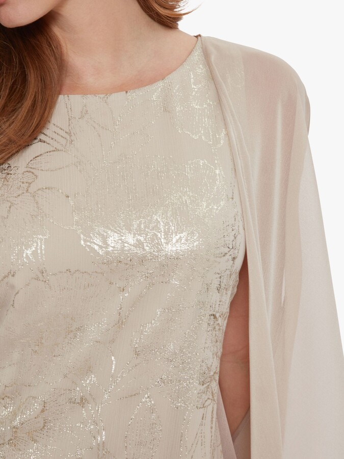 Thumbnail for your product : Gina Bacconi Berkley Floral Embroidered Mini Dress, Light Gold