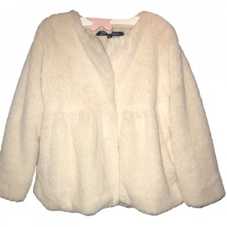 Lili Gaufrette White Polyester Jackets & Coats