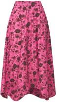 Thumbnail for your product : Ganni Printed Organic Cotton Poplin Midi Skirt