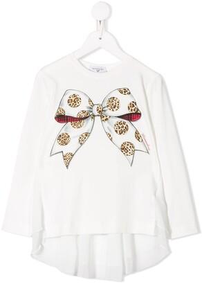 MonnaLisa bow-print t-shirt