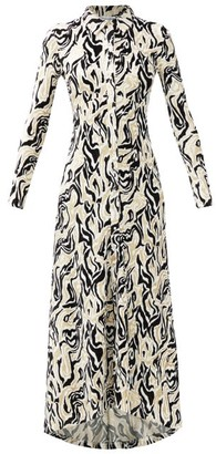 Paco Rabanne Metallic Swirl-jacquard Midi Shirtdress - Gold Multi
